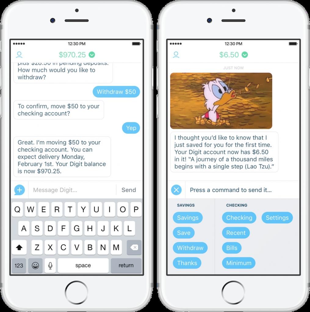 Digit bank app helps save money chat predictive og ikke bagudrettet snackable ai trends kundeservice future expectations