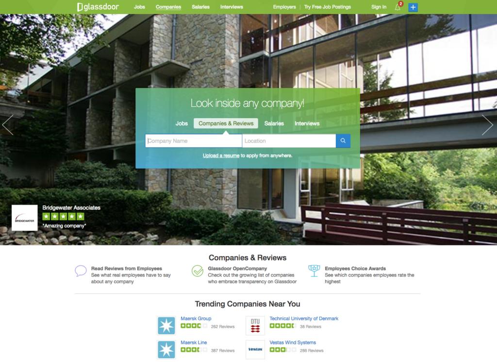 Glassdoor.com platformen giver udefrastående et ærligt billede af virksomheder.