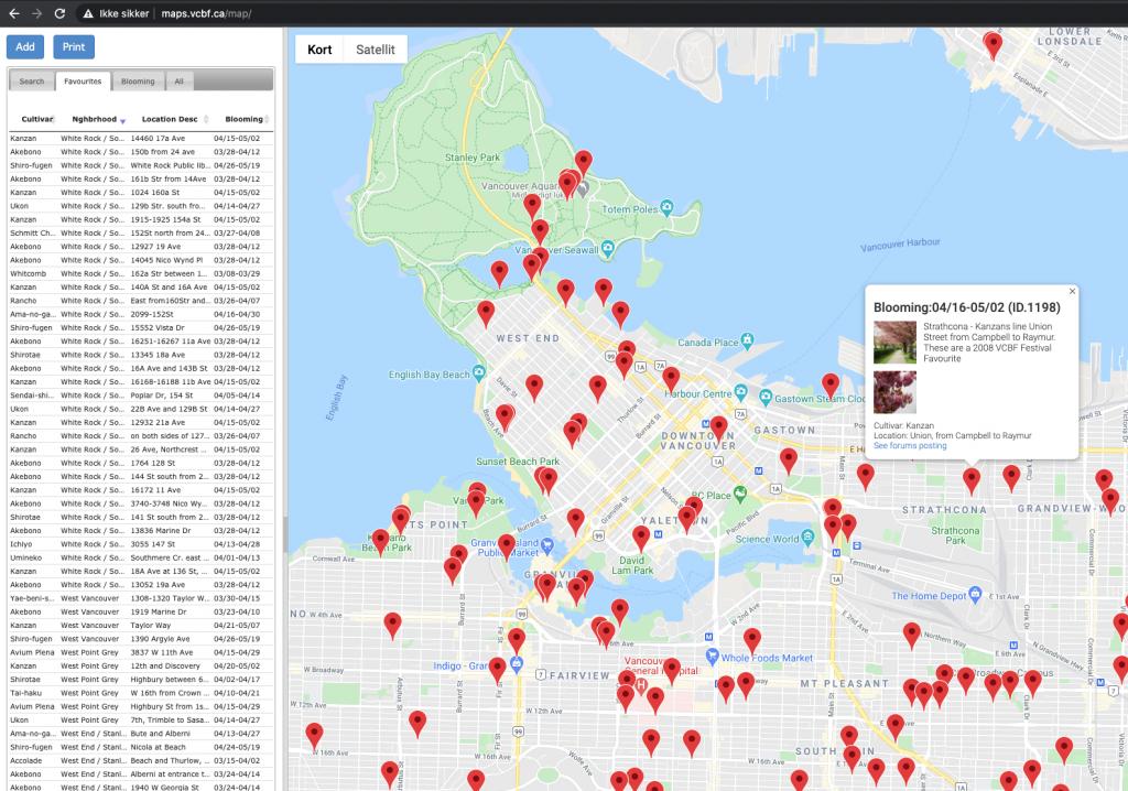 Kort interaktivt vancouver cherry blossom walk virtuel turisme